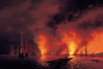 romantic romantism Painting - battle of sinop 1853 Romantic Ivan Aivazovsky Russian