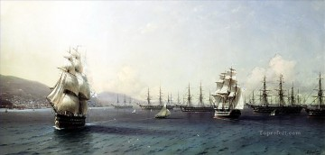 black sea fleet in the bay of feodosia just before the crimean war Ivan Aivazovsky Oil Paintings