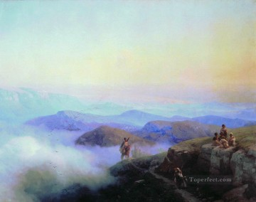 chains of the caucasus mountains 1869 Romantic Ivan Aivazovsky Russian Oil Paintings