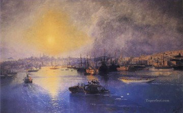 Constant Canvas - constantinople sunset 1899 Romantic Ivan Aivazovsky Russian