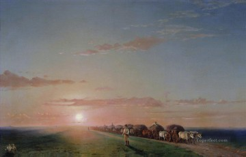 Ivan Konstantinovich Aivazovsky Painting - ox train on the steppe Romantic Ivan Aivazovsky Russian