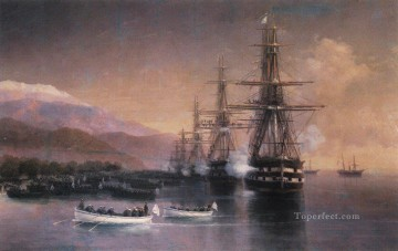 the landing to subashi 1880 Romantic Ivan Aivazovsky Russian Oil Paintings