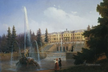 Ivan Konstantinovich Aivazovsky Painting - view of the big cascade in petergof and the great palace of peterg Ivan Aivazovsky