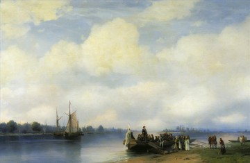 arrival of peter i on the neva 1853 Romantic Ivan Aivazovsky Russian Oil Paintings