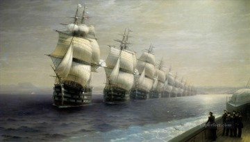 parade of the black sea fleet Romantic Ivan Aivazovsky Russian Oil Paintings