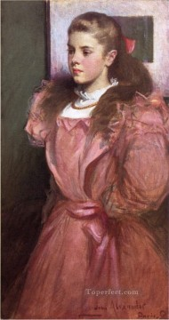 portrait Art - Young Girl in Rose aka Portrait of Eleanora Randolph Sears John White Alexander