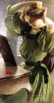 Woman Painting - Young Woman Arranging Her Hair John White Alexander