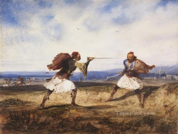 Orientalist Art Painting - Albanian Duel somewhere in South of Albania during Ottoman reign Alexandre Gabriel Decamps Orientalist