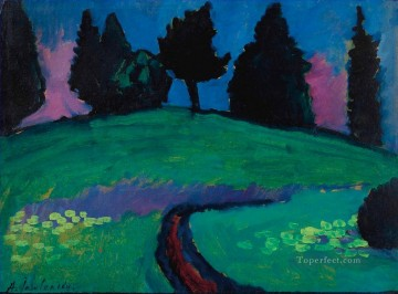 Artworks by 350 Famous Artists Painting - Dark trees over a green slope Alexej von Jawlensky