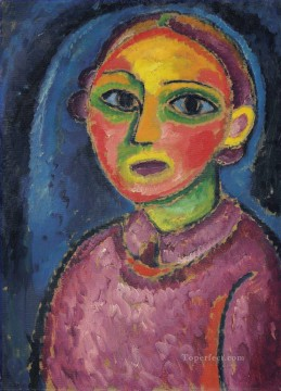 Artworks by 350 Famous Artists Painting - Half length portrait of a woman in a reddish robe Alexej von Jawlensky