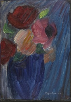 LARGE STILL LIFE ROSES IN AN ULTRAMARINE BLUE VASE Alexej von Jawlensky Oil Paintings