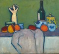 STILL LIFE WITH FRUIT FIGURE AND BOTTLE Alexej von Jawlensky
