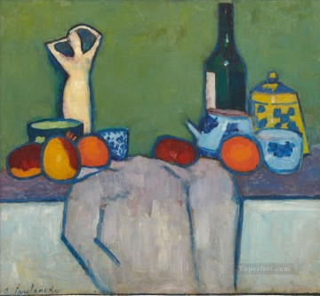 Artworks by 350 Famous Artists Painting - STILL LIFE WITH FRUIT FIGURE AND BOTTLE Alexej von Jawlensky