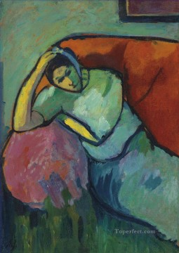Artworks by 350 Famous Artists Painting - Sitting woman Alexej von Jawlensky