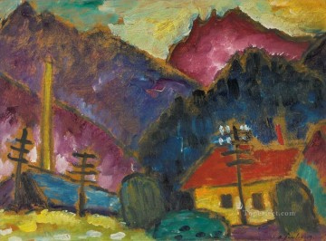 Small Landscape with Telegraph Masts Alexej von Jawlensky Oil Paintings