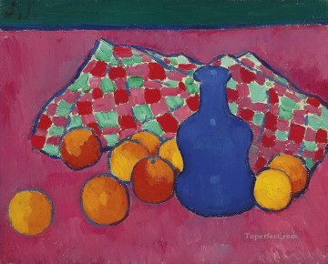 Artworks by 350 Famous Artists Painting - blaue vase mit orangen 1908 Alexej von Jawlensky