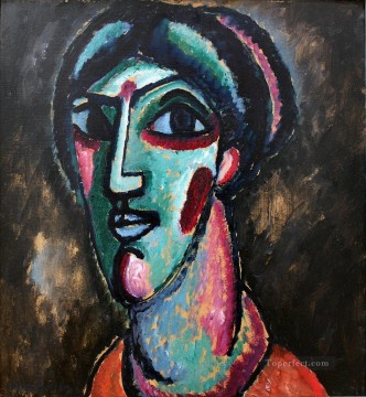 Artworks by 350 Famous Artists Painting - head in black and green 1913 Alexej von Jawlensky