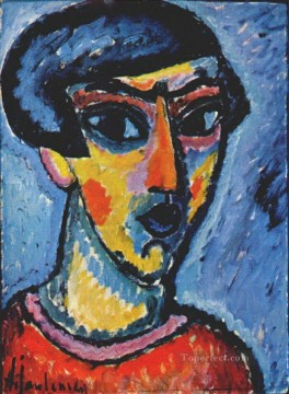 Artworks by 350 Famous Artists Painting - head in blue 1912 Alexej von Jawlensky