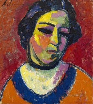 Artworks by 350 Famous Artists Painting - portrait of a woman 1912 Alexej von Jawlensky