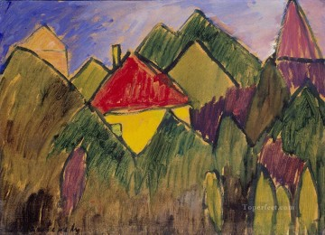 Artworks by 350 Famous Artists Painting - rote giebel rote d cher 1910 Alexej von Jawlensky