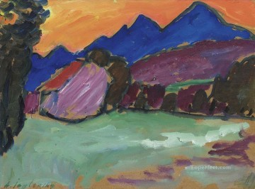 Artworks by 350 Famous Artists Painting - roter abend blaue berge 1910 Alexej von Jawlensky