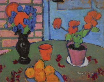 Artworks by 350 Famous Artists Painting - still life with flowers and oranges 1909 Alexej von Jawlensky