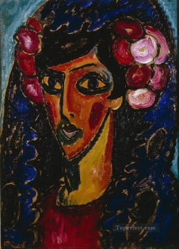 Artworks by 350 Famous Artists Painting - the blue mantilla 1913 Alexej von Jawlensky