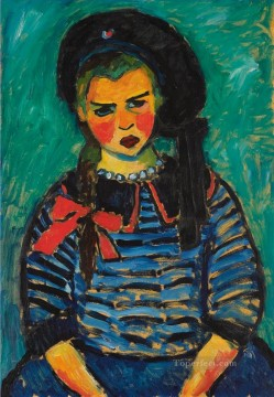 Artworks by 350 Famous Artists Painting - GIRL WITH RED RIBBON Alexej von Jawlensky