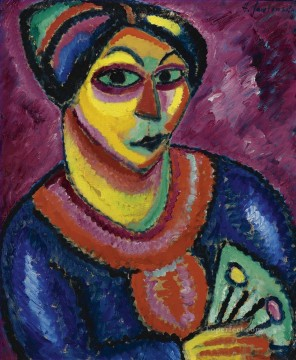 Artworks by 350 Famous Artists Painting - woman with a green fan 1912 Alexej von Jawlensky