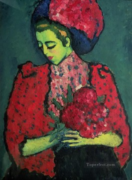 young girl with peonies 1909 Alexej von Jawlensky Oil Paintings