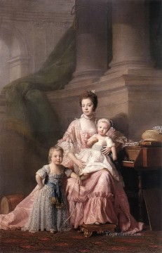 queen charlotte with her two children Allan Ramsay Portraiture Classicism Oil Paintings