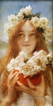 Lawrence Canvas - Summer Offering Young Girl with Roses Romantic Sir Lawrence Alma Tadema