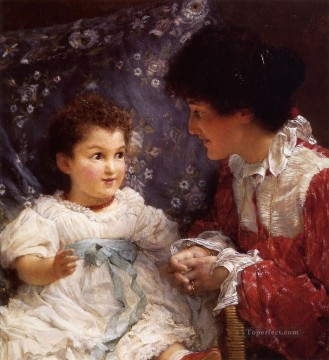 Lawrence Canvas - Mrs George Lewis and Her Daughter Elizabeth Romantic Sir Lawrence Alma Tadema