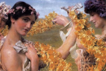Lawrence Canvas - When Flowers Return Romantic Sir Lawrence Alma Tadema