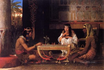 Lawrence Canvas - Egyptian Chess Players Romantic Sir Lawrence Alma Tadema