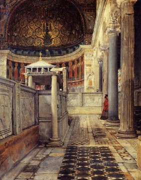 Interior Painting - Interior of the Church of San Clemente Rome Romantic Sir Lawrence Alma Tadema