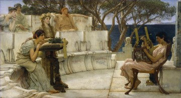 Sappho and Alcaeus Romantic Sir Lawrence Alma Tadema Oil Paintings