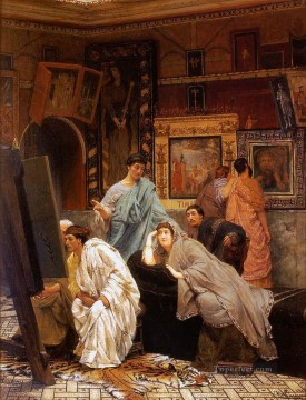 A Collection of Pictures at the Time of Augustus Romantic Sir Lawrence Alma Tadema Oil Paintings
