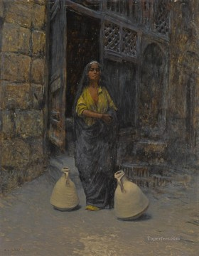 Alphons Leopold Mielich Painting - THE WATER CARRIER Alphons Leopold Mielich Orientalist scenes