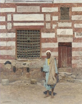 Alphons Leopold Mielich Painting - An Arab outside his house Alphons Leopold Mielich Orientalist scenes
