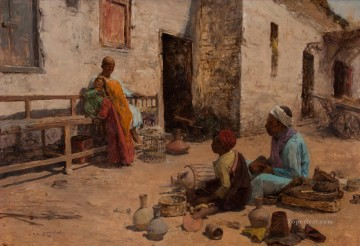 Alphons Leopold Mielich Painting - Cairo Street Scene Alphons Leopold Mielich Orientalist scenes