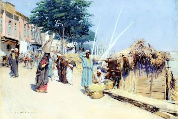 Alphons Leopold Mielich Painting - Oriental market scene Cairo Alphons Leopold Mielich Orientalist scenes