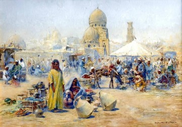 Alphons Leopold Mielich Painting - An oriental street bazaar Alphons Leopold Mielich Orientalist scenes