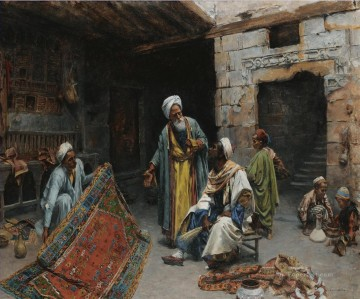 Alphons Leopold Mielich Painting - THE CARPET MERCHANT 2 Alphons Leopold Mielich Orientalist scenes