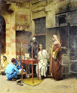 Alphons Leopold Mielich Painting - The tobacco seller Cairo Alphons Leopold Mielich Orientalist scenes