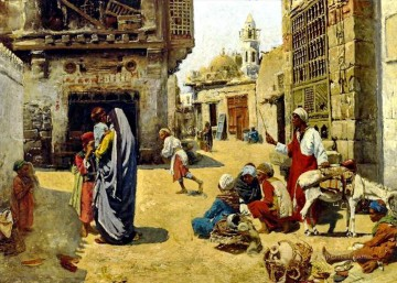 Alphons Leopold Mielich Painting - A street scene in Cairo Alphons Leopold Mielich Orientalist scenes