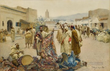 Alphons Leopold Mielich Painting - THE Carpet Merchant Alphons Leopold Mielich Orientalist scenes