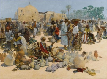 Alphons Leopold Mielich Painting - THE POTTERY SELLER Alphons Leopold Mielich Orientalist scenes
