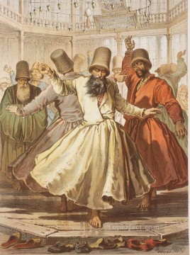 Dancing Dervishes in Galata Mawlawi House Amadeo Preziosi Neoclassicism Romanticism Oil Paintings
