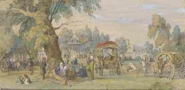 classicism Painting - In a Turkish Park Amadeo Preziosi Neoclassicism Romanticism